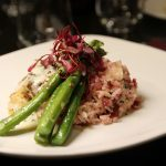 Champagne cod, beet and fennel risotto