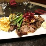 beef tenderloin with asparagus and mashed potatoes