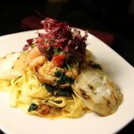 Garlic shrimp and lobster fettuccine