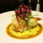 Crab stuffed jumbo shrimp saffron risotto